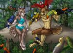2018 4_toes 5_fingers ambiguous_gender anthro avian beak bird black_pawpads blue_eyes blue_feathers breasts brown_fur brown_hair canine clothed clothing day detailed_background digital_media_(artwork) digitigrade feathered_wings feathers female feral forest fur group hair jay-kuro male mammal midriff navel outside pawpads red_feathers smile toes tree wings wolf yellow_sclera