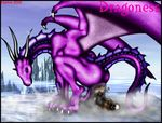 2003 anthro anus bone butt claws crouching death dragon feces female horn ice markie purple_scales raised_tail red_eyes scalie scat sky steam water wings
