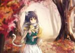 animal animal_ear_fluff animal_ears autumn_leaves bangs black_hair blurry blurry_foreground blush brown_eyes carrying cloak closed_mouth dargo day depth_of_field expressionless eyebrows_visible_through_hair falling_leaves fur_collar gradient_hair green_shirt hair_intakes kashiwazaki_shiori leaf long_hair long_sleeves looking_to_the_side multicolored_hair outdoors princess_connect! princess_connect!_re:dive shirt skirt solo tail tree white_hair white_skirt wide_sleeves