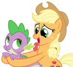 2015 absurd_res alpha_channel applejack_(mlp) cartoon dragon duo earth_pony equine female feral friendship_is_magic green_eyes hi_res horse licking magister39 male mammal my_little_pony orange_skin pony purple_scales scalie spike_(mlp) tongue tongue_out