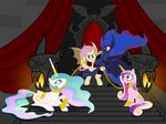 2015 absurd_res bat bat_pony bat_wings blue_hair bound chain collar cutie_mark equine fangs female feral flutterbat_(mlp) fluttershy_(mlp) friendship_is_magic fur group hair hi_res horn horse long_hair looking_at_viewer magister39 mammal multicolored_hair my_little_pony pegasus pony princess_cadance_(mlp) princess_celestia_(mlp) princess_luna_(mlp) red_eyes smile throne white_fur winged_unicorn wings