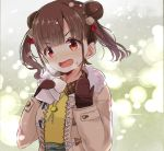 amidada bangs blush brown_coat brown_hair brown_mittens coat collared_shirt double_bun eyebrows_visible_through_hair fur-trimmed_coat fur_trim green_skirt hair_ornament hands_up head_tilt idolmaster idolmaster_shiny_colors long_hair long_sleeves looking_at_viewer mittens open_clothes open_coat open_mouth red_eyes shirt side_bun skirt sleeves_past_wrists solo sonoda_chiyoko steam sweat twintails upper_body v-shaped_eyebrows yellow_shirt