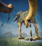 3d ambiguous_gender animal_genitalia butt cloaca digital_media_(artwork) dinosaur feces feral green_scales photorealism raised_tail rear_view reptile salireths scalie scat sharp_teeth solo standing teeth yellow_belly