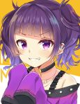 amidada bangs black_choker blush choker collarbone eyebrows_visible_through_hair grin hands_up highres idolmaster idolmaster_shiny_colors long_sleeves looking_at_viewer off_shoulder purple_eyes purple_hair purple_shirt shirt sidelocks sleeves_past_fingers sleeves_past_wrists smile solo tanaka_mamimi twintails upper_body v-shaped_eyebrows
