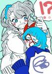 !? 2girls asymmetrical_hair blue_eyes breast_smother breasts daruma_kaeru ear_studs earrings glasses glomp gyaru-ko hair_bun highres hug huge_breasts jewelry long_hair multiple_girls one_side_up oshiete!_gyaru-ko-chan ota-ko_(gyaru-ko) red-framed_glasses scrunchie