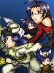 4girls arc_system_works artist_request bare_shoulders between_breasts black_hair blazblue blue_eyes blue_hair breasts chinese_clothes clone cosplay female glasses hat idolmaster imai_asami kisaragi_chihaya litchi_faye_ling litchi_faye_ling_(cosplay) long_hair looking_at_viewer minigirl miura_azusa multiple_girls namco open_mouth purple_eyes seiyuu_connection serious takahashi_chiaki tsubaki_yayoi tsubaki_yayoi_(cosplay) uniform