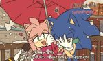 1boy 1girl amy_rose blush bukiko facepalm heart microphone snow sonic sonic_the_hedgehog special_feeling_(meme) umbrella