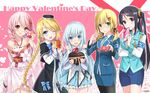 5girls :d ;d aiguillette armband bare_shoulders black_legwear blonde_hair blush box braid emilia_(krt_girls) gift gift_box hair_ornament happy_valentine heart-shaped_box highres hika_(cross-angel) incoming_gift japanese_clothes krt_girls kuuki_shoujo low_twintails magi_in_wanchin_basilica multiple_girls necktie nun one_eye_closed open_mouth pantyhose pencil_skirt pink_hair ribbon-trimmed_clothes ribbon_trim sergestid_shrimp_in_tungkang skirt smile twin_braids twintails uniform valentine vest xiao_ma xiao_qiong xuan_ying