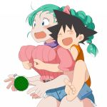 1girl aaa_(nisetsuru) barefoot belt blue_eyes blush braid breast_grab breasts bulma cowboy_shot dragon_ball dragon_radar erect_nipples eyes_closed feet grabbing grabbing_from_behind green_hair happy highres large_breasts legs long_hair open_mouth puffy_nipples radar short_shorts shorts simple_background single_braid smile son_gokuu standing surprised thighs toes white_background