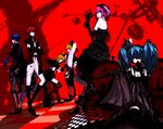 2boys 4girls absurdres board_game boots chess couch crown dark dress gothic hatsune_miku highres kagamine_len kagamine_rin kaito long_hair megurine_luka meiko multiple_boys multiple_girls red short_hair siblings thighhighs twins twintails uni_(nacchan) vocaloid