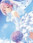 1girl alternate_costume alternate_hairstyle blue_sky bouquet bridal_veil cloud commentary_request day dress drill_hair dutch_angle elbow_gloves flower gloves head_wreath highres kantai_collection kida_mochi looking_at_viewer outdoors pink_eyes pink_hair sazanami_(kantai_collection) short_hair sky solo twintails veil wedding_dress white_dress white_gloves