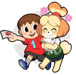 2018 animal_crossing black_nose blush brown_hair canine clothing dipstick_tail duo eyes_closed female floppy_ears footwear fur hair happy human isabelle_(animal_crossing) logo male mammal multicolored_tail nintendo open_mouth short_hair smile super_smash_bros tears toonigal video_games villager_(animal_crossing) white_fur yellow_fur