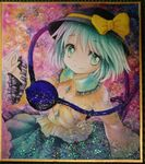 1girl aqua_eyes bow hands_together hat hat_bow komeiji_koishi long_sleeves looking_at_viewer mosho painting_(object) shirt silver_hair skirt smile solo third_eye touhou traditional_media watercolor_(medium) wide_sleeves