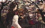 1girl animal_ears brooch brown_hair cape dress imaizumi_kagerou jewelry landscape long_hair long_sleeves looking_at_viewer nature onion_(onion_and_pi-natto) profile red_eyes solo touhou tree wolf_ears