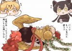 1koma 3girls animal_ears ass bird_tail bird_wings black_gloves black_hair black_leopard_(kemono_friends) black_shirt blonde_hair blush_stickers brown_hair chibi comic crossover extra_ears eyebrows_visible_through_hair feathered_wings flying_sweatdrops furrowed_eyebrows gloves head_wings hi_no_tori hi_no_tori_(kemono_friends) holding kemono_friends leopard_(kemono_friends) leopard_ears long_hair looking_at_another lying multicolored_hair multiple_girls neck_ribbon on_side open_mouth orange_eyes panties personification ponytail red_footwear red_hair red_ribbon ribbon shirt shoe_soles shoes short_sleeves skirt smile sweater_vest tanaka_kusao translation_request trembling twintails two-tone_hair underwear white_hair white_panties wings yellow_eyes yellow_wings
