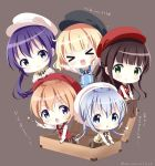 >_< 5girls :d alternate_costume arm_support bangs black_hat black_ribbon blonde_hair blue_eyes blue_hair brown_background brown_hair brown_legwear brown_skirt cabbie_hat chestnut_mouth chibi closed_mouth collared_shirt commentary_request eyebrows_visible_through_hair gochuumon_wa_usagi_desu_ka? green_eyes hair_between_eyes hat hoto_cocoa kafuu_chino kirima_sharo light_brown_hair long_hair low_ponytail matching_outfit minigirl multiple_girls neck_ribbon neki_(wakiko) no_shoes open_mouth outstretched_arms pantyhose pointing purple_eyes purple_hair red_hat ribbon shirt side_ponytail simple_background sitting skirt smile sparkle standing star suitcase sweater_vest tedeza_rize translation_request twitter_username ujimatsu_chiya very_long_hair white_hat white_shirt xd