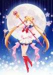 1girl ;) bishoujo_senshi_sailor_moon blonde_hair blue_eyes blue_sailor_collar boots bow bowtie choker double_bun earrings elbow_gloves floating_hair full_body full_moon gloves hair_ornament headpiece heart highres holding holding_staff jewelry knee_boots long_hair looking_at_viewer miniskirt moon one_eye_closed ozenkalily pleated_skirt red_bow red_footwear red_neckwear sailor_collar sailor_moon sailor_senshi_uniform shirt skirt sleeveless sleeveless_shirt smile solo staff super_sailor_moon twintails very_long_hair white_gloves white_shirt white_skirt