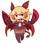 1girl :d bangs blonde_hair blush brown_dress brown_eyes brown_gloves brown_legwear commentary_request copyright_request dagger demon_girl demon_tail demon_wings dress dual_wielding earrings elbow_gloves eyebrows_visible_through_hair fang full_body gloves hair_between_eyes head_tilt heart heart_earrings highres holding holding_dagger holding_weapon jewelry long_hair looking_at_viewer naga_u navel no_shoes open_mouth red_wings sidelocks simple_background smile solo standing standing_on_one_leg strapless strapless_dress tail thighhighs weapon white_background wings