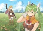 1boy 1girl arm_up black_gloves blonde_hair blue_sky cape closed_mouth cloud cravat day elbow_gloves fingerless_gloves flower frey_(rune_factory) gloves grass green_eyes green_hair hair_ornament kyufe leaf lest_(rune_factory) long_hair mountain open_mouth outdoors pouch purple_eyes rune_factory rune_factory_4 sky sleeveless smile standing twintails white_gloves