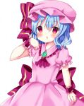 1girl ascot bangs blue_hair blush brooch chocolat_(momoiro_piano) collared_dress commentary_request dress eyebrows_visible_through_hair frilled_shirt_collar frills hair_between_eyes hat jewelry mob_cap parted_lips pink_dress pink_hat puffy_short_sleeves puffy_sleeves purple_neckwear red_eyes remilia_scarlet short_sleeves simple_background solo touhou white_background wrist_cuffs
