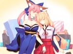 2girls animal_ears bag bare_shoulders blonde_hair blue_bow blue_kimono blue_legwear blush bow breasts cleavage closed_mouth commentary_request detached_collar detached_sleeves eyes_closed fate/grand_order fate_(series) fox_ears hair_bow high-waist_skirt highres japanese_clothes kimono large_breasts long_hair multiple_girls necktie nyokichi_(nyokitto!) obi parted_lips pink_hair red_neckwear red_scrunchie red_skirt sash scrunchie shirt short_sleeves siblings side-by-side sisters skirt sleeping stuffed_animal stuffed_toy suzuka_gozen_(fate) tamamo_(fate)_(all) tamamo_no_mae_(fate) teddy_bear thighhighs very_long_hair white_shirt wrist_scrunchie
