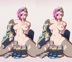 1girl breasts fingering highres kneeling league_of_legends lol masturbation navel nipples pink_hair pussy stereogram torn_clothes torn_thighhighs uncensored vi_(league_of_legends)