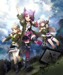 3girls :d arm_up asymmetrical_legwear belt black_footwear black_skirt blue_sky brown_eyes brown_hair clenched_hand cloud eyepatch fishnet_legwear fishnets fur_trim grass green_jacket green_legwear hair_ornaent hayasaka_mirei holding holding_microphone horns hoshi_shouko idolmaster idolmaster_cinderella_girls idolmaster_cinderella_girls_starlight_stage jacket long_hair mameris2 medium_hair microphone morikubo_nono multicolored_hair multiple_girls open_mouth outdoors plaid pointing purple_eyes purplle_hair silver_hair skirt sky smile standing studded_choker television thigh_strap torn_clothes torn_legwear two-tone_hair