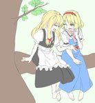 2girls alice_margatroid apron ascot barefoot blonde_hair capelet couple eyes_closed hairband kirisame_marisa long_hair multiple_girls no_hat open_mouth resist short_hair smile touhou waist_apron yuri