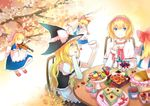 2girls alice_margatroid apron ascot blonde_hair blue_eyes blush bow braid capelet couple cup food hair_bow hairband hat instrument kirisame_marisa long_hair multiple_girls open_mouth playing_instrument rue_(wyha666) shanghai_doll short_hair side_braid smile teacup touhou violin waist_apron witch_hat yellow_eyes
