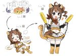 /\/\/\ 1girl =3 adapted_uniform ahoge animal_ears animal_print baseball_glove baseball_uniform black_gloves bone bridal_gauntlets brown_hair cat_paws commentary_request crumbs crying drill_hair egg elbow_gloves evolution eyes_closed fang food food_on_face fur_trim gloves hatching highres holding_stomach idolmaster idolmaster_million_live! level_up lying multiple_views navel neckerchief on_back orange_legwear partial_commentary paws plate ponytail puffy_shorts purple_eyes shorts side_ponytail simple_background skirt skirt_set sleeveless spawnfoxy speech_bubble sportswear stomach_bulge stomach_growling tail thighhighs tiger_ears tiger_print tiger_tail white_background yokoyama_nao