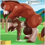 2015 aaron_(artist) abdominal_bulge anal anal_penetration animal_genitalia anthro anthro_on_feral balls bear bestiality big_balls cub cum cum_in_ass cum_inside cumshot domination duo english_text equine erection feral horse horsecock huge_balls hyper hyper_balls interspecies male male/male mammal nude orgasm penetration penis sex size_difference text young
