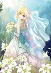1girl ahoge artoria_pendragon_(all) blonde_hair blue_eyes bouquet bridal_veil day dress elbow_gloves fate/stay_night fate_(series) flower from_behind gloves head_tilt holding holding_bouquet lily_(flower) long_dress looking_at_viewer open_mouth outdoors saber short_hair shuen sleeveless sleeveless_dress smile solo standing sunlight tied_hair veil wedding_dress white_dress white_flower white_gloves