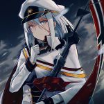 1girl absurdres azur_lane bangs blue_eyes breasts capelet choker closed_mouth cloud cloudy_sky commentary_request cross cross_earrings earrings eyebrows_visible_through_hair flag gloves hair_between_eyes hand_up hat highres holding_pole jacket jewelry long_hair military military_hat military_uniform official_art outdoors peaked_cap rain septoleaf sidelocks silver_hair sky solo tirpitz_(azur_lane) tsurime uniform white_gloves