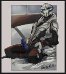 alien bdsm bed blue_penis bound erection kneeling looking_at_viewer male mass_effect nude palavenmoons penis precum restrains ribbed_penis rope rope_bondage rope_harness solo thedax_(character) turian video_games