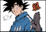 1boy =3 black_border black_eyes black_hair border close-up coat dragging dragon_ball dragon_ball_super dragon_ball_super_broly face gloves hand_up happy looking_to_the_side male_focus salute short_hair simple_background smile son_gokuu spiked_hair translation_request upper_body white_background winter_clothes winter_coat