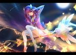 1girl alternate_costume city city_lights lancefate league_of_legends letterboxed long_hair looking_at_viewer luxanna_crownguard magical_girl moon moonlight night pink_eyes pink_hair shooting_star sidesaddle smile solo star star_guardian_lux thighhighs v_over_eye wand white_legwear