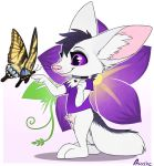 2018 adra anthro arthropod aseethe butterfly canine clothing collar digital_media_(artwork) duo fennec feral flower fox fur inner_ear_fluff insect lepidopteran mammal plant purple_eyes shirt simple_background smile standing white_fur
