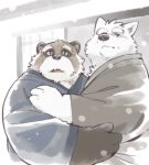 2018 anthro black_nose canine clothed clothing duo fur garouzuki hug humanoid_hands male mammal snow tanuki white_fur wolf