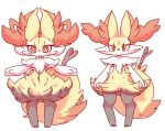 ambiguous_gender big_ears big_eyes blush blush_sticker braixen canine cheek_tuft chest_tuft claws cute_fangs duo feral fluffy fluffy_tail fox fur inner_ear_fluff mammal navel nintendo nude nyaswitchnya paws pokémon pokémon_(species) red_eyes red_fur shoulder_tuft snout snow snowing stick tuft video_games yellow_fur