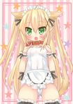 1girl ahoge animal_ears apron blonde_hair cameltoe covered_navel dog_ears dog_tail erect_nipples green_eyes hair_ornament hair_ribbon hairclip long_hair looking_at_viewer maid_apron maid_headdress open_mouth original ribbon school_swimsuit shiodome_oji small_breasts solo star swimsuit tail thighhighs twintails white_school_swimsuit white_swimsuit wrist_cuffs