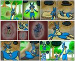 2015 anthro anus belly birth black_fur blue_fur blue_hair breasts butt canine clothed clothing comic dialogue duo english_text female fur hair hand_on_belly human jackal labor livinlovindude lucario male mammal nintendo nude open_mouth pokémon pregnant pussy raised_tail red_eyes riolu scarf size_difference sleeping spread_legs spreading text tongue tongue_out transformation video_games wet yellow_fur