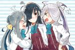 3girls ahoge arguing arm_hug asashimo_(kantai_collection) black_hair grey_hair hair_over_one_eye hair_ribbon hand_on_hip hayashimo_(kantai_collection) itomugi-kun kantai kantai_collection kiyoshimo_(kantai_collection) long_hair looking_at_viewer multiple_girls open_mouth ponytail red_eyes ribbon sharp_teeth silver_hair squiggle sweatdrop wavy_mouth
