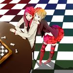 0930erina beatrice blonde_hair board_game chess flower formal hair_flower hair_ornament jacket lowres necktie red_hair redhead rose sitting skirt suit thigh-highs thighhighs umineko_no_naku_koro_ni ushiromiya_battler vest zettai_ryouiki