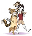 anthro clothing cub dress feline female hair long_hair looking_up male mammal milf mother parent pregnant redpixie serval shirt shorts sleeping smile tiger young