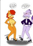 2015 anthro big_breasts blaze_the_cat breasts cat chipmunk cleavage clothed clothing dancing dialogue dreamcastzx duo english_text featureless_breasts feline female mammal nude rodent sally_acorn sonic_(series) text
