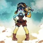 1girl bernd_workshop blue_skin blush breasts cleavage clothed clothing cosplay etrian_odyssey eyewear female gloves goggles gradient gradient_background hand_on_hip massivetilesale minette minette_(skullgirls) pink_eyes sekaiju_no_meikyuu sekaiju_no_meikyuu_4 skullgirls smile solo tools wide_hips wrench wynne yellow_sclera
