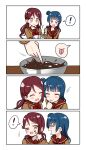 ! >_o 2girls 4koma :d :o :p ;d ^_^ absurdres alternate_hairstyle blue_hair blush bow bowl bowtie brown_shirt chocolate closed_eyes comic deadnooodles eyes_closed finger_sucking finger_to_another's_cheek food food_on_face hair_ornament hairclip highres holding holding_bowl long_hair looking_at_another love_live! love_live!_sunshine!! multiple_girls neckerchief one_eye_closed open_mouth purple_eyes red_hair red_neckwear sakurauchi_riko school_uniform serafuku shirt side_bun silent_comic smile spoken_exclamation_mark spoken_expression stirring tongue tongue_out tsushima_yoshiko twintails v-shaped_eyebrows valentine whisk yellow_eyes yuri