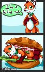 ambiguous_fluids bread canine collar comic food fox humor mammal ohfourmouse pun sandwich_(food) tongue tongue_out