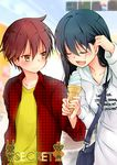 1boy 1girl black_hair cover eyes_closed food ice_cream ice_cream_cone kirihara_izumi long_hair open_mouth sawashiro_yoru short_hair sky soft_serve sore_wa tobari_susumu yellow_eyes