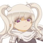 1girl angry bunny_hair_ornament closed_mouth eyebrows_visible_through_hair hair_ornament looking_at_viewer maplestory mole mole_under_eye orca_(inazuma_eleven) purple_eyes scarf silver_hair simple_background solo twintails user_agcy7775 white_background